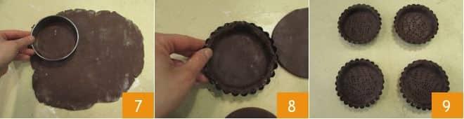 Tartellette con cioccolato e cuore di mou