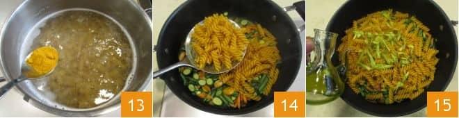 Pasta fredda con verdure e curcuma