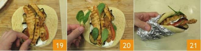 Pita con melanzane e pollo