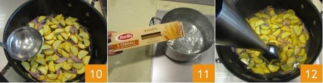 Pasta con crema di zucchine gialle e prosciutto