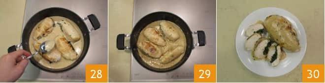 Tasche di pollo ripiene di ricotta e spinaci