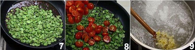 Pasta fave pancetta e pomodorini