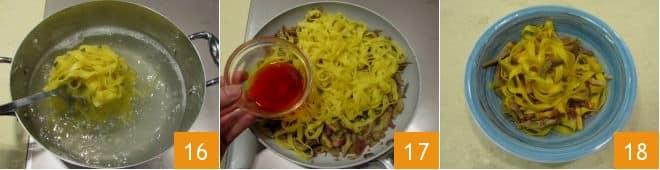 Fettuccine con carciofi e pancetta