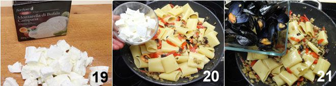 Paccheri con melanzane, cozze e mozzarella di bufala