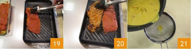 Tagliata di manzo ai due curry