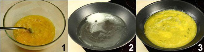 Rotolo di frittata con prosciutto e scamorza