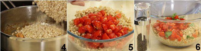 Insalata d'orzo con acciughe, gamberetti e pomodorini