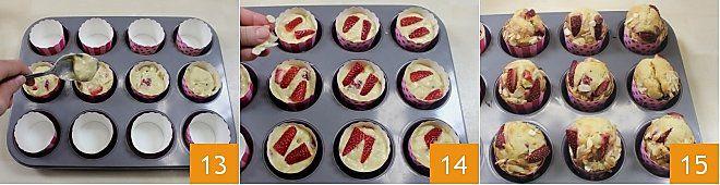 Muffin al farro con fragole e mandorle