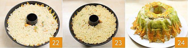 Anello di riso con cuore di mozzarella e gamberi