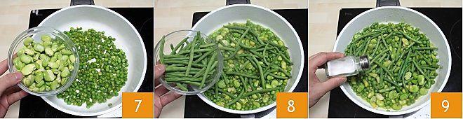 Frittata ai piselli fave e fagiolini