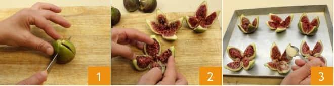 Roselline di prosciutto crudo su fichi