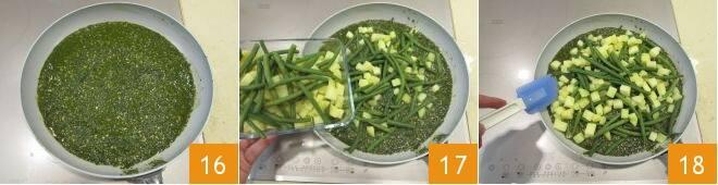 Bavette al pesto, patate e fagiolini