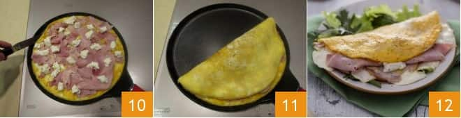 Omelette con stracchino e prosciutto cotto