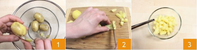 Schiacciate con insalata di patate all'Asiago