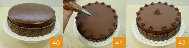 Ricetta torta con crema ai wafer alla nocciola la for Decorazione torte con wafer