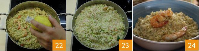 Risotto al pesto di zucchine yogurt e mazzancolle