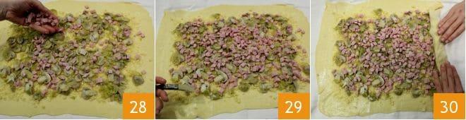 Strudel salato con prosciutto, funghi e fontina