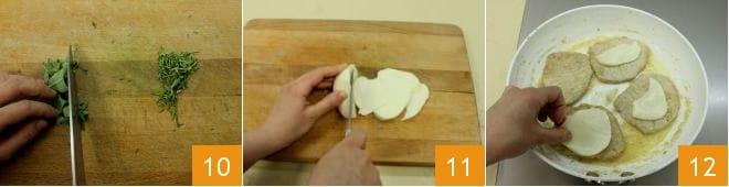 Scaloppine saporite con cubetti di cotto e formaggio