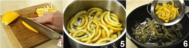 Branzino (spigola) alla pancetta con cipolle e arance in agrodolce