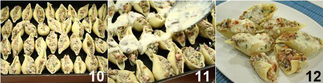 Conchiglioni ripieni di funghi, prosciutto e besciamella