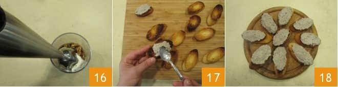 Crostini con patè di funghi Champignon