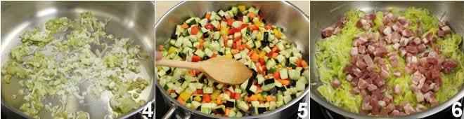 Quiche con verdure e pancetta