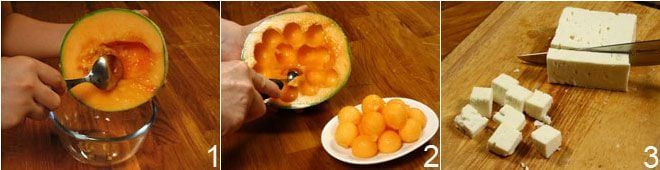 Spiedini di melone, feta e rucola