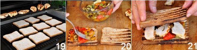 Sandwich di pollo grigliato con caponata di peperoni
