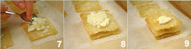 Millefoglie di pasta fillo con pere e brie