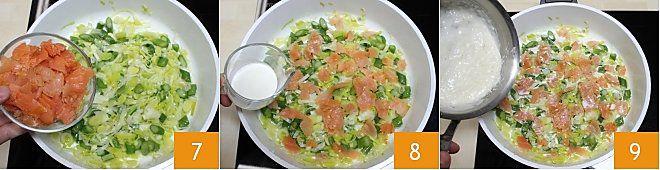 Quiche al salmone con asparagi e porri