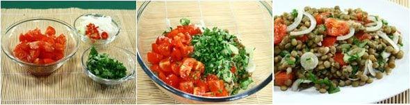 Insalata di lenticchie pomodori e cipollotti